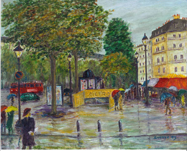 Paris Art Print featuring the painting Paris In The Rain by Sandy Starr