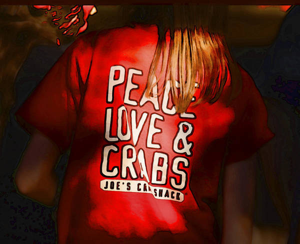 Peace Art Print featuring the digital art Peace Love And Crabs by Hazel Billingsley