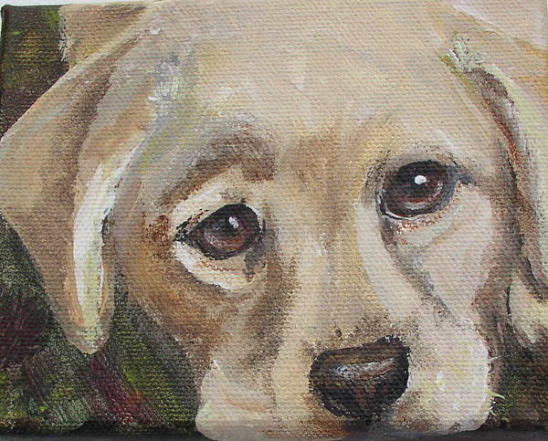 Leslie Art Print featuring the painting Pup by Leslie Hoops-Wallace