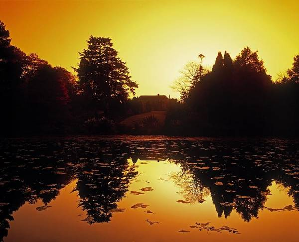 Attractions Art Print featuring the photograph Silhouetted Home And Trees Near Water by The Irish Image Collection