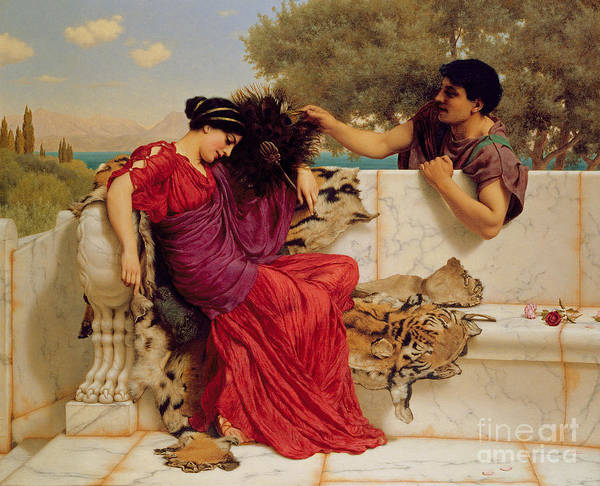 The Old Art Print featuring the painting The Old Story by John William Godward