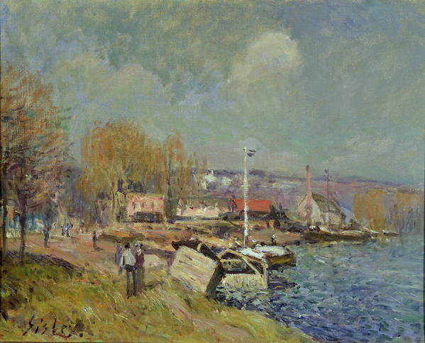 The Art Print featuring the painting The Seine At Port-marly by Alfred Sisley