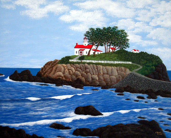 Lighthouse Paintings Art Print featuring the painting Battery Point Lighthouse by Frederic Kohli
