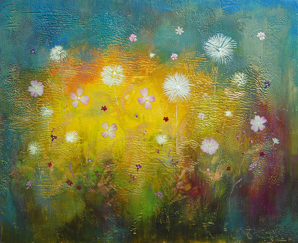 Landscape Art Print featuring the painting Dancing Wildflowers Series by Joya Paul