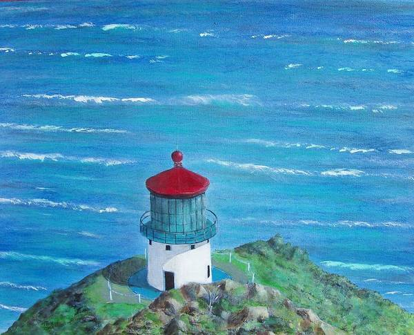 Lighthouse Art Print featuring the painting Lighthouse by Tony Rodriguez