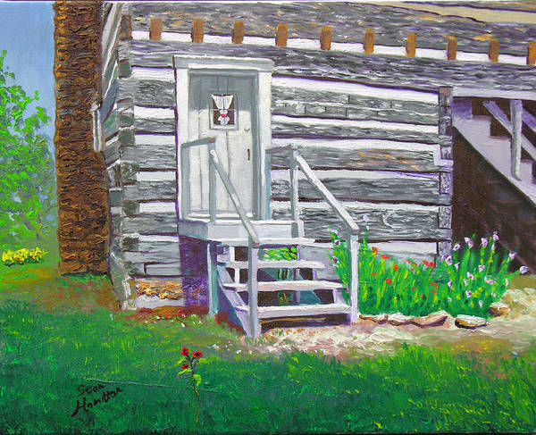 Log Cabin Art Print featuring the painting Pioneer Village II by Stan Hamilton