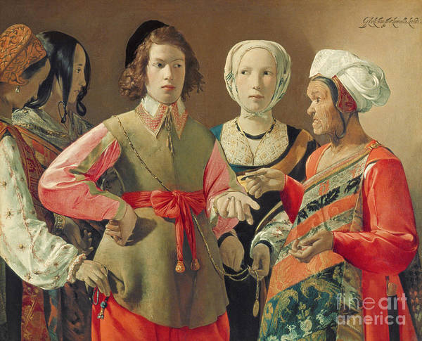 Gypsy; Coin; Turban; Stealing; Pick Pocket; Deception; Accomplices; Crossing Palm Silver; Headdress; Tunic; Costume; Hat; Money; Payment Print featuring the painting The Fortune Teller by Georges de la Tour