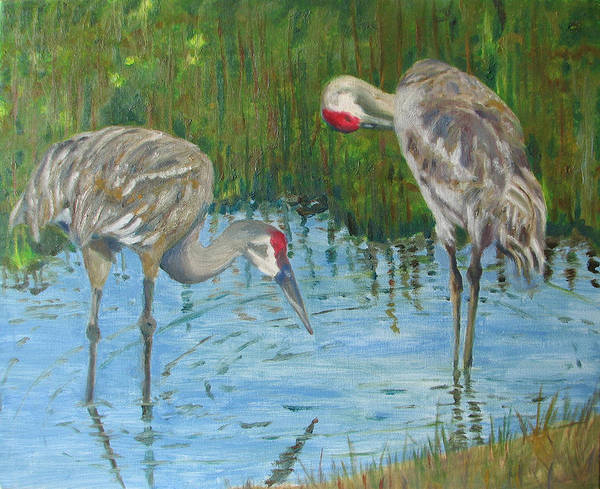 Marsh Art Print featuring the painting Two Cranes by Libby Cagle
