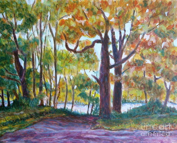Egg Tempera Art Print featuring the painting View From My Driveway by Jan Bennicoff