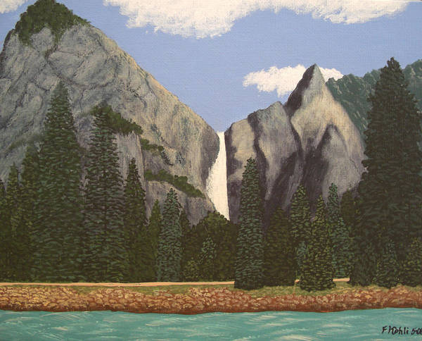 Landscape Paintings Art Print featuring the painting Yosemite Falls by Frederic Kohli