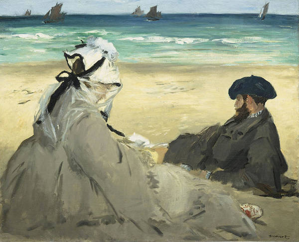 Edouard Manet Art Print featuring the painting On The Beach by Edouard Manet