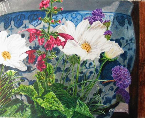 Flowers Art Print featuring the painting Cosmos by Karen Ilari