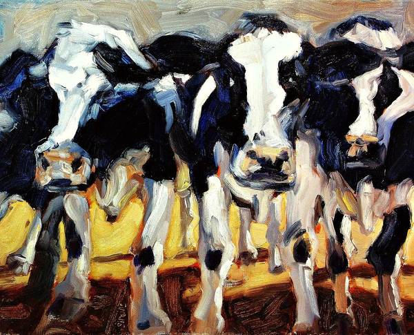 Cow Art Print featuring the painting 3-cows by Brian Simons