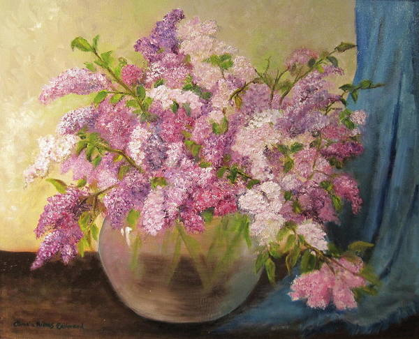 Lilacs Art Print featuring the painting A Bowl Full Of Lilacs by Aurelia Nieves-Callwood