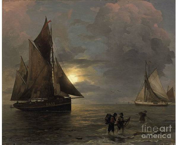 Andreas Achenbach Art Print featuring the painting A Coastal Landscape With Sailing Ships By Moonlight by Celestial Images