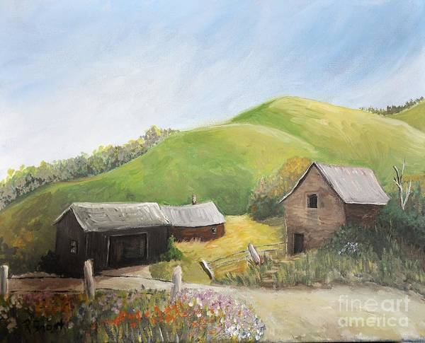 Country Scenes Art Print featuring the painting A Little Country Scene by Reb Frost