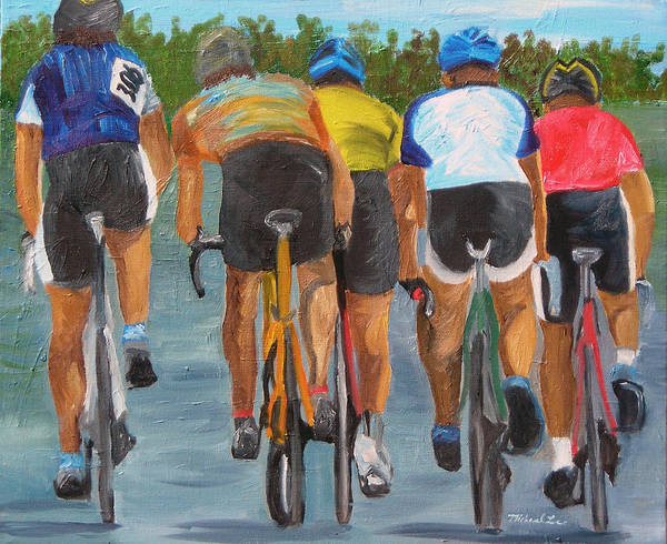 Cycling Art Print featuring the painting A Nice Day For A Ride by Michael Lee