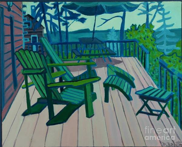 Ocean Art Print featuring the painting Adirondack Chairs Maine by Debra Bretton Robinson