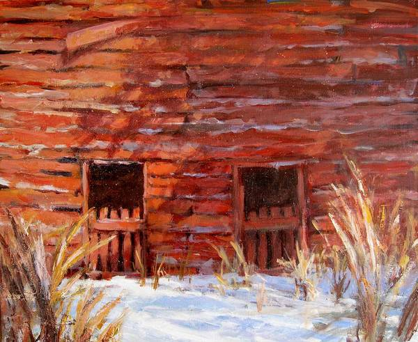 Old Barn Art Print featuring the painting After The Snow II by L Diane Johnson