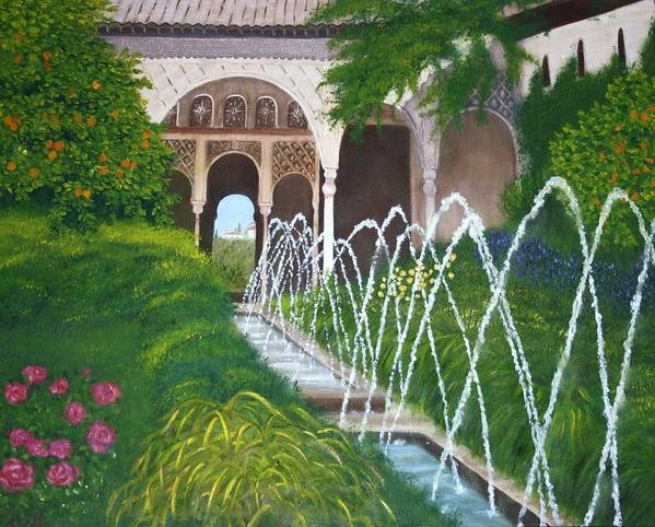 Palace Art Print featuring the painting Alhambra Palace by Rosemarie Perks