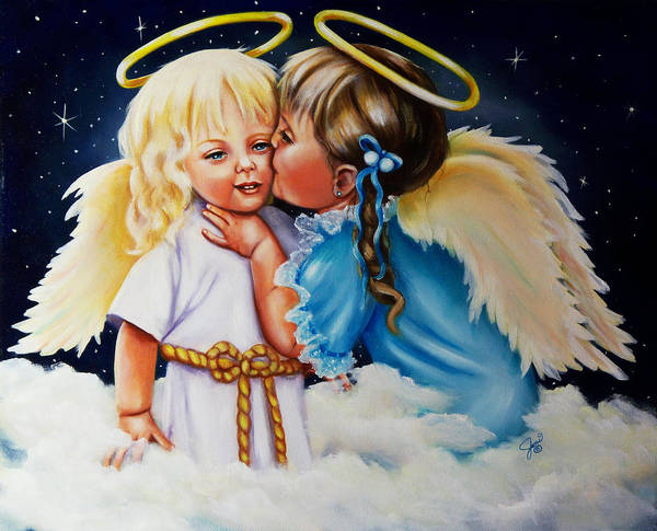 Angels Art Print featuring the painting Angel Kiss by Joni McPherson