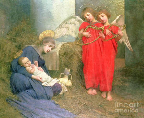 Stable; Lyre; Musical Instrument; Sleeping; Straw Art Print featuring the painting Angels Entertaining The Holy Child by Marianne Stokes