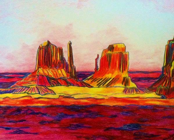 fa5a4d39960 Landscape  Arizona Desert Sunset Art Print featuring the drawing Arizona  Desert by Meghan Gallagher