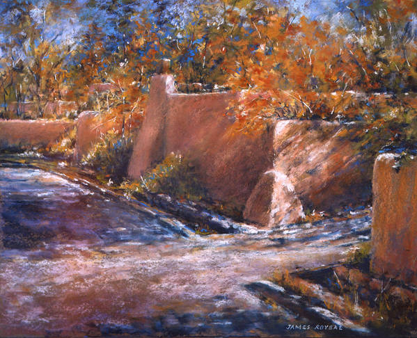 Art Print featuring the painting asequia Madre in Fall by James Roybal