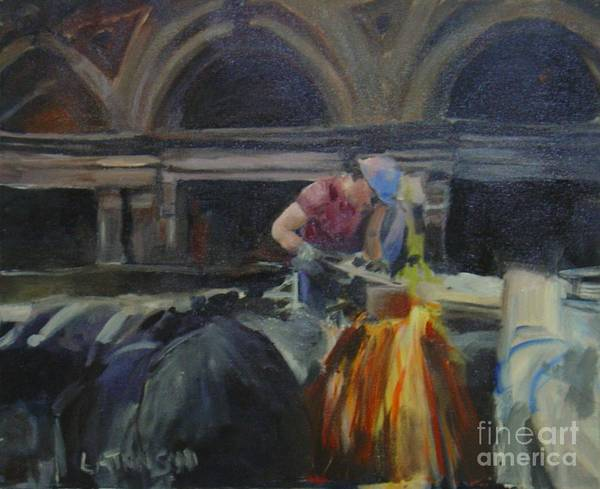 City Worker Construction Leilaatkinson Original Painting Art Print featuring the painting At Work by Leila Atkinson