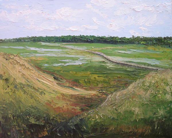 Marsh Art Print featuring the painting August Marsh Boardwalk by Kayla Race