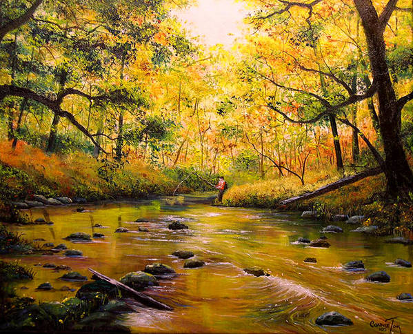 Connie Tom Art Print featuring the painting Autumn Fishing by Connie Tom