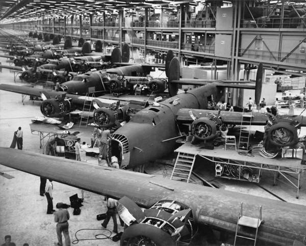 History Art Print featuring the photograph B-24 Liberator Bombers Nearing by Everett