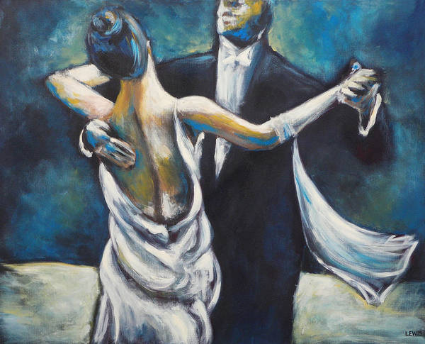 Dance Art Print featuring the painting Ballroom Dancers by Ellen Lewis