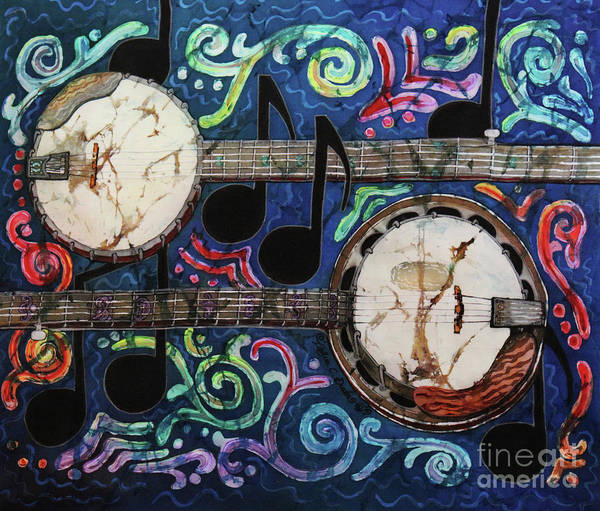Banjo Print featuring the painting Banjos by Sue Duda