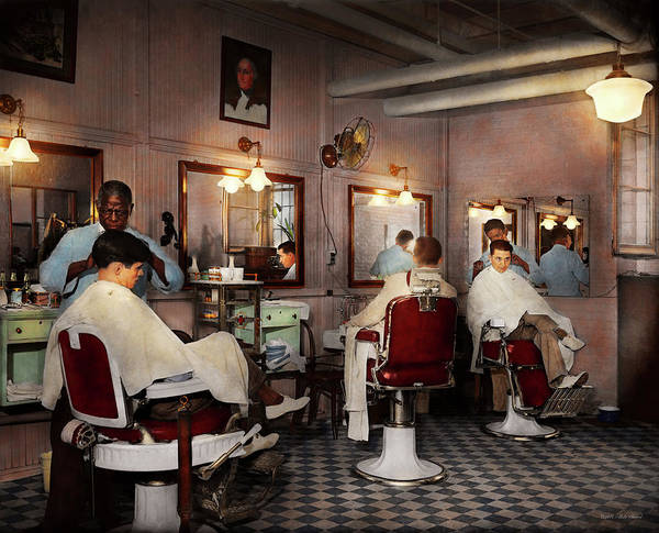 Barber Art Art Print featuring the photograph Barber - Senators-only Barbershop 1937 by Mike Savad