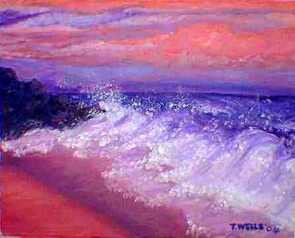 Beach Art Print featuring the painting Beach At Sunrise by Tanna Lee M Wells
