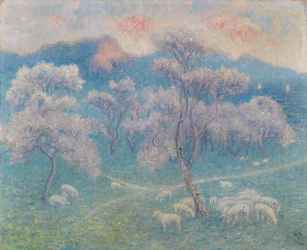 William Degouve De Nuncques 1867 - 1935 Belgian Art Print featuring the painting Belgian, Moutons Aux Amandiers by MotionAge Designs