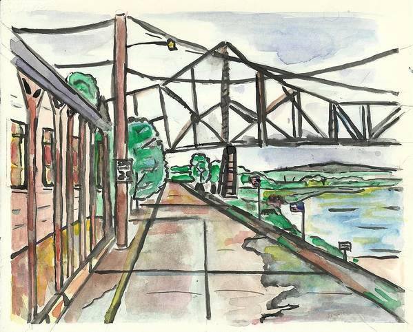 Mississippi Rvier Art Print featuring the painting Black Hawk Bridge by Matt Gaudian