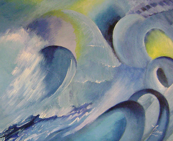 Abstract Art Print featuring the painting Blue Concerto 1 by Lian Zhen