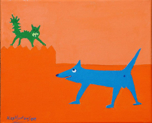 Naive Art Print featuring the painting Blue Laughs At Green Cat by Alex Mortensen
