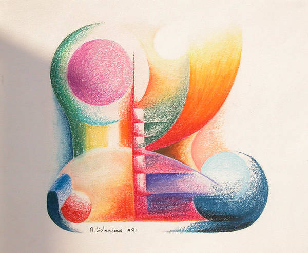 Abstract Art Print featuring the drawing Boulets by Muriel Dolemieux