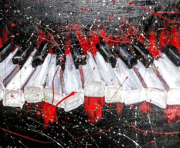 Jazz Art Print featuring the painting Broken Keys Red by Janee Alexander