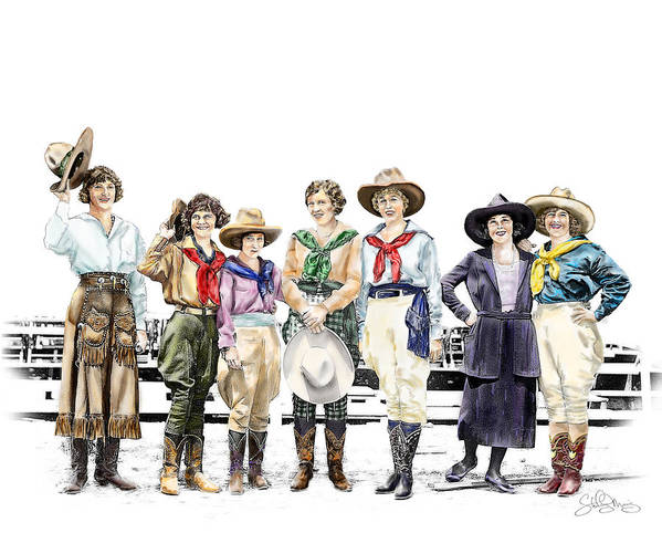 Cowgirl Art Print featuring the painting Buckin Horse Suffragettes by Shirley Morris