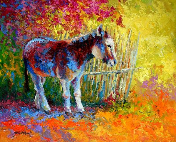 Western Art Print featuring the painting Burro And Bouganvillia by Marion Rose