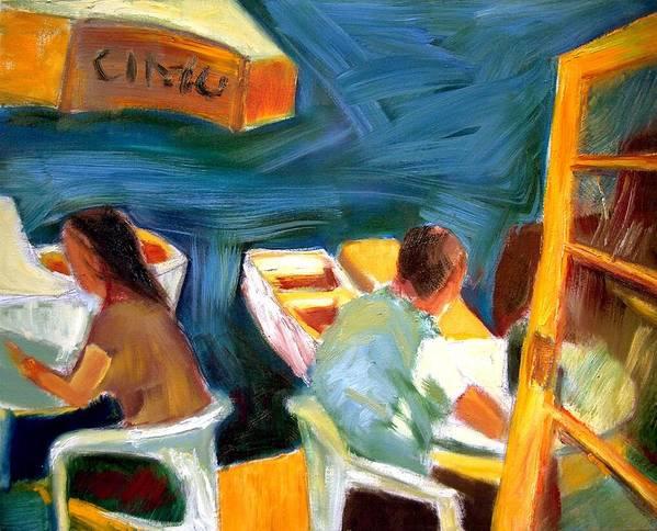 Dornberg Art Print featuring the painting Cafe At Dockside by Bob Dornberg