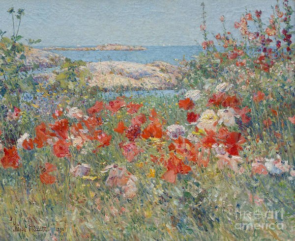 Childe Hassam Art Print featuring the painting Celia Thaxter's Garden, Isles Of Shoals, Maine, 1890 by Childe Hassam