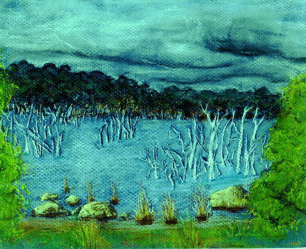 Lake Trees Water Storm Clouds Art Print featuring the pastel Central Highland's Lake. by Bethwyn Mills