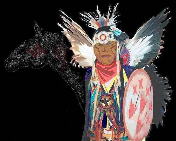 Native American Art Print featuring the digital art Chief by Carole Boyd