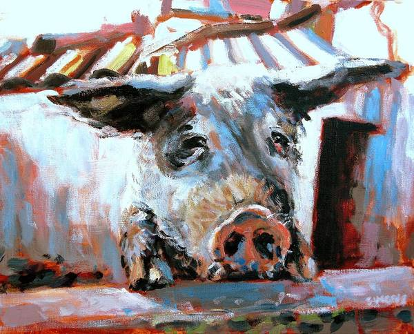 Pig Paintings Art Print featuring the painting Chin Ups by Brian Simons