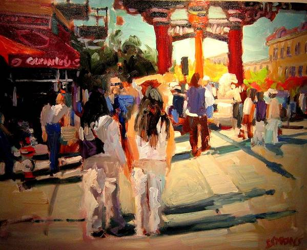 Landscape Paintings Art Print featuring the painting Chinatown by Brian Simons